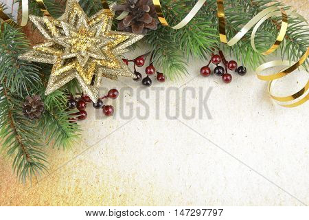 Christmas compositionon on a background of old paper