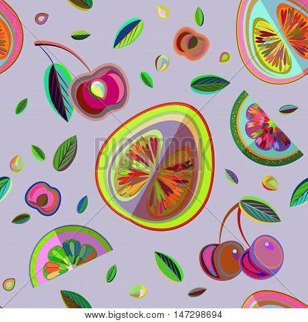 Vector seamless pattern with fruit slices and leaf.
