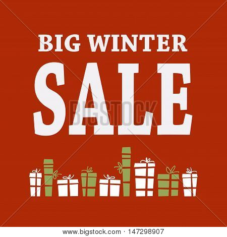Winter sale background with white letters and gifts. Christmas sale. New year sale. Vector illustration