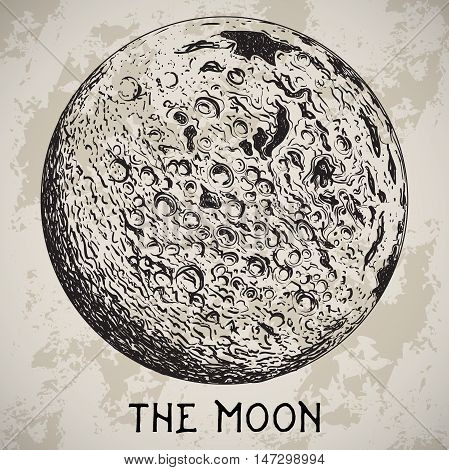 Full Moon planet with lunar craters on grunge background. Vintage hand drawn vector illustration