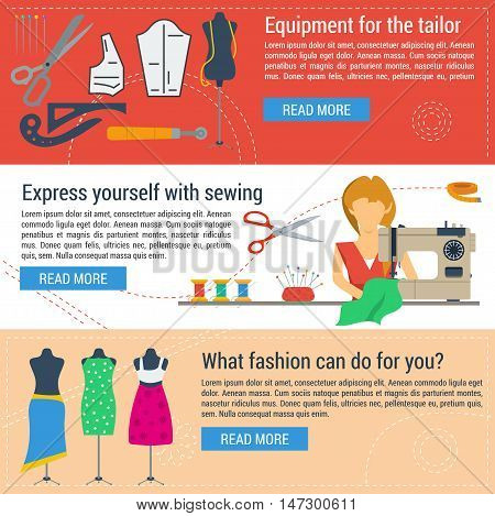 Vector three horizontal web banners of concept sewing equipment and tailoring items in flat style. Woman with sewing machine and mannequins
