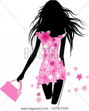Vector fashion girl with floral dress. Female silhoutte