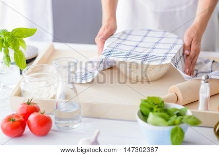 Woman Covering Yeast Dough With Towel.