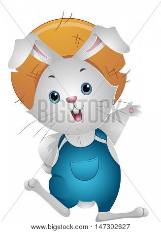 Farming Mascot Illustration of a Rabbit in Jumper and Straw Hat Waving Its Paw