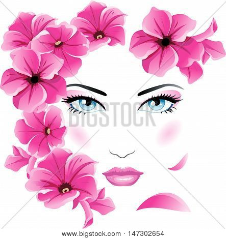 Absract female face with pink flowers. Girl with petunia