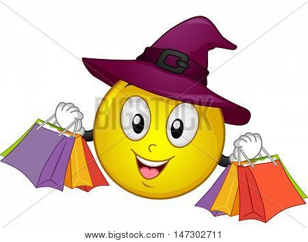 Halloween Mascot Illustration Featuring a Smiley Wearing a Witch Hat Carrying Shopping Bags