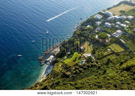 Aerial photography of Capri Island Campania Italy