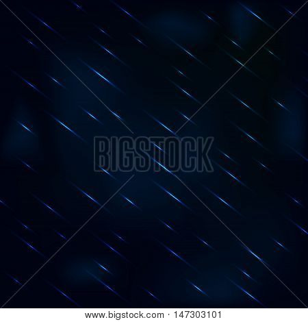 Drizzling rain at night with hazy blue sky. Rain drops vector background.