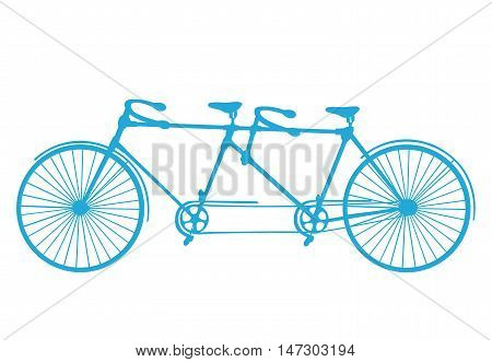 Retro blue silhouette tandem bicycle isolated on a white background. Vector.