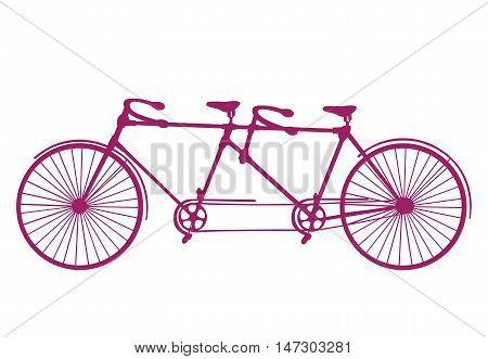 Vintage Illustration of tandem bicycle over white background. Vector.