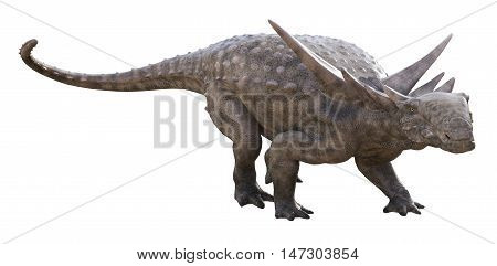 3D rendering of Sauropelta in a defensive stance, isolated on white background.