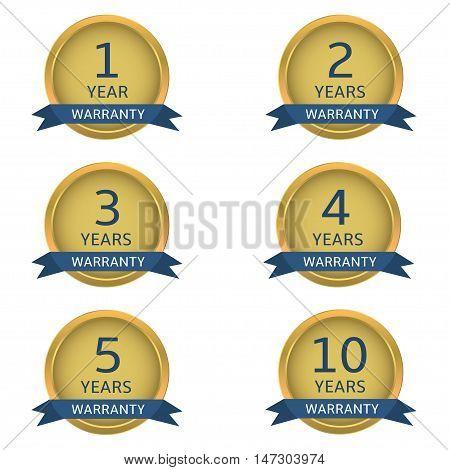 Golden warranty labels with blue ribbons. Vector illustration