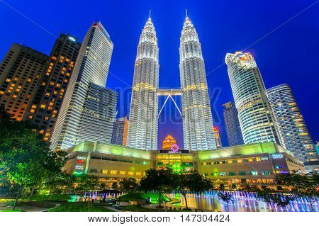 KUALA LUMPUR MALAYSIA - JUNE 18: Petronas Towers on April 08 2014 in Kuala Lumpur Malaysia.Petronas Towersalso known as Menara Petronas is the tallest buildings in the world from 1998 to 2004