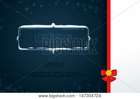 Vintage Vector Decorative Elements In Winter Style. Set Of Hand Drawn Frames With Snow, Icicles In F