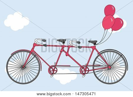 Tandem bicycle with hearts balloons. Valentine's day greeting card. Vector illustration. Ideal for invitation design, save the date, wedding and other.