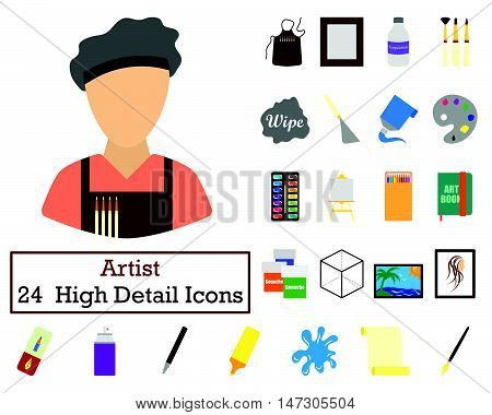 Set Of 24  Artist Icons