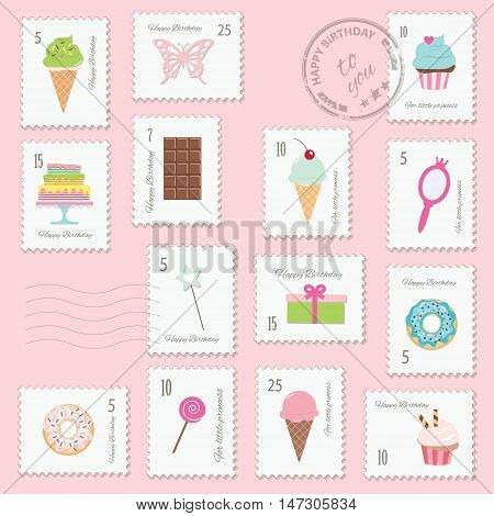 Different postage stamps with girly stuff and sweets. For birthday or scrapbook design.