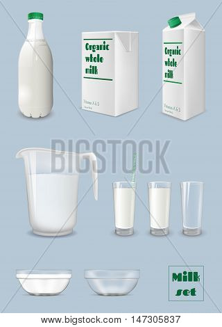 Milk carton and bottle glass of milk. Packaging and glassware.