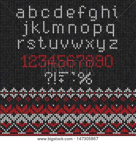 Handmade Knitted Abstract Background Pattern With Alphabet, Lowercase Letters, Numbers, Punctuation