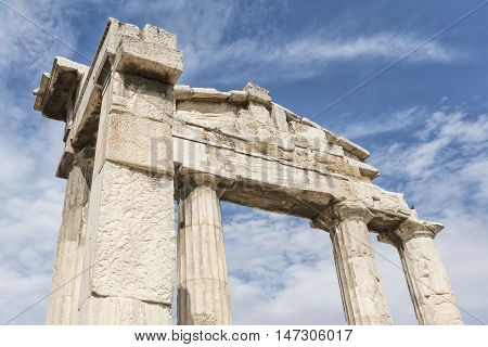 Gate of Athena Archegetis At The Entrance Of Roman Agora, Athens, Greece