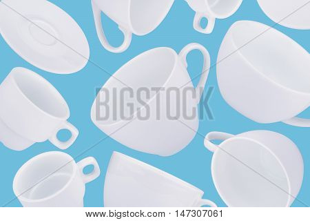 horizontal abstract pattern with white coffee cups on blue background