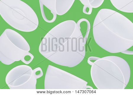 horizontal abstract pattern with white coffee cups on green background