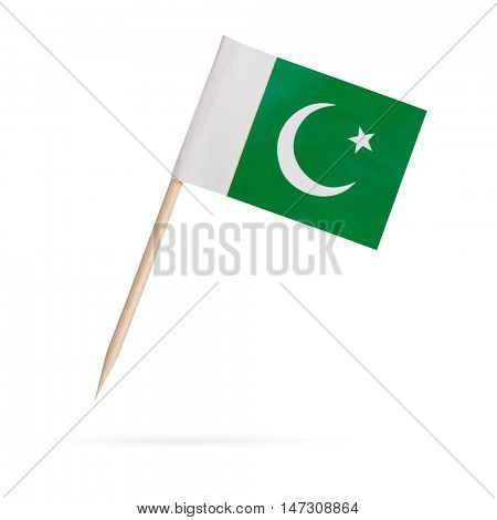 Miniature paper flag Pakistan. Isolated Mini Pakistani flag pointer on white background. With shadow below