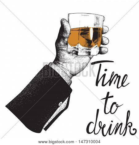 Male hand holding a glass of whiskey. Design for alcoholic drinks products. Vector illustration