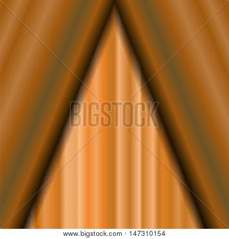 Cinema Closed Orange Curtain. Orange Textile Pattern. Cinema Stage.