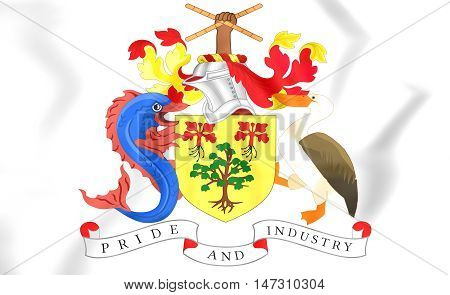 Barbados Coat of Arms. 3D Illustration. Close Up.