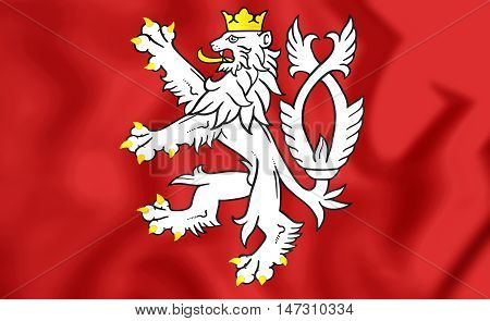 Flag Of Bohemia (coat Of Arms), Czech Republic. 3D Illustration.