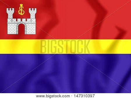 Flag Of Kaliningrad Oblast, Russia. 3D Illustration.