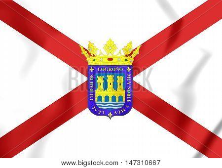 Flag Of Logrono (la Rioja), Spain. 3D Illustration.