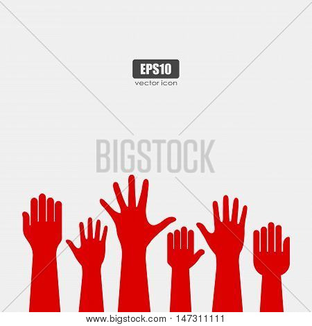 Raised hands vector poster illustration isolated on white background
