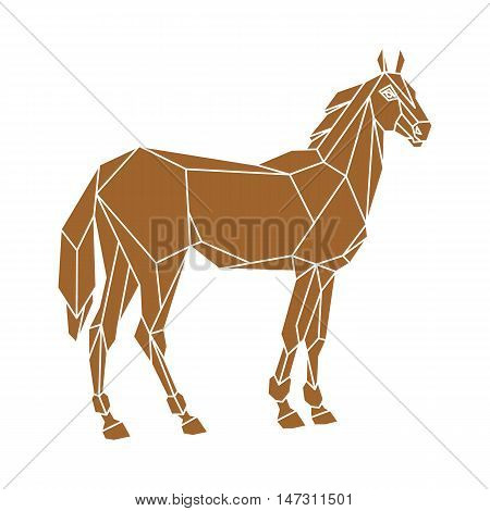 horse vector illustration geometric style  view side