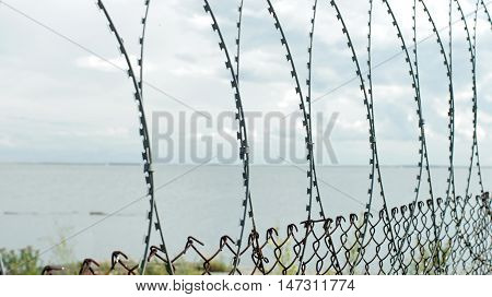seascape View from the behind the barbed wire