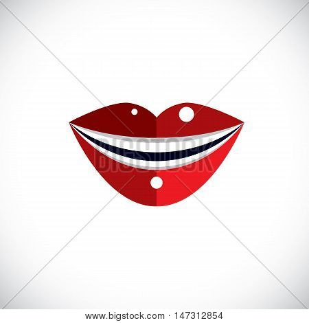 Red human lips vector illustration parts of woman face. Graphic element made in modernistic style.