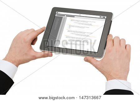 business, people, programming and technology concept - close up of man hands holding tablet pc computer with coding on screen