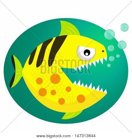 Yellow toothy piranha with bubbles. Piranha fang. Cute dangerous piranha.