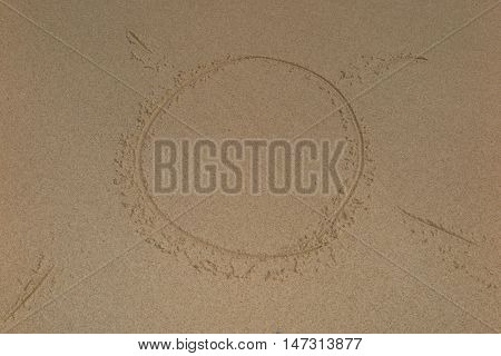 Sun Shape On The Sand At Summer At The Sea