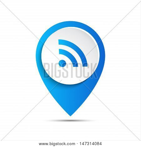 3d vector pointer with wifi icon, vector illustration