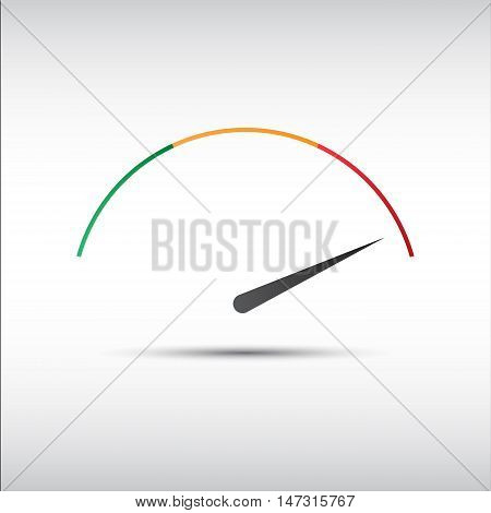 Simple vector tachometer with indicator in red part speedometer icon performance measurement symbol