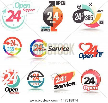 24 hours open customer service collection. Vector illustration...