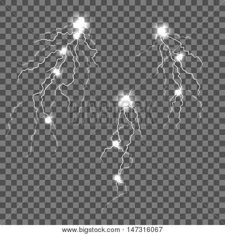 Vector lightnings set with flash spots isolated. Electric discharge illustration. Thunder and lightning.