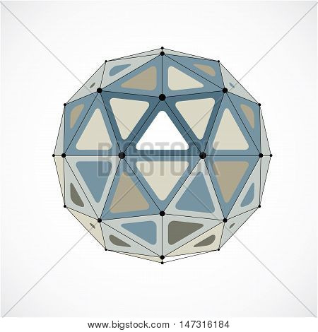 Abstract Vector Low Poly Object With Black Lines And Dots Connected. Monochrome 3D Origami Futuristi