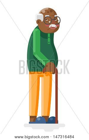 Old African and Adult Grandfather Flat Design Vector Illustration