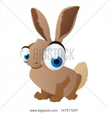 vector funny cartoon cute colorful animal image. Hare