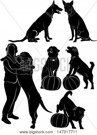 Dogs collection black silhouette black vector pet