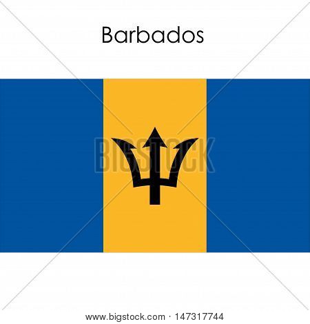 Barbados flag on a white background. Vector illustration