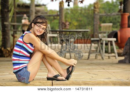 Teen Beauty On Patio